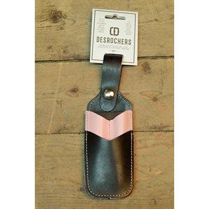 Étui à crayon et à couteau utilitaire, collection 'chums de filles' , cuir noir et rose