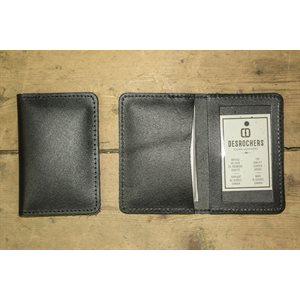 Porte-cartes cousu, cuir noir