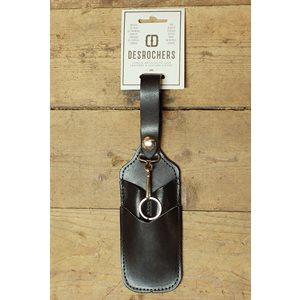Étui à crayon, couteau utilitaire et porte-clefs à chaînette, cuir noir, minimum 6
