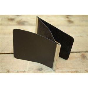 Porte-billets double avec pince, cuir noir, minimum 12