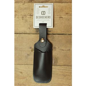 Pen, marker and utility knife holster, black leather, minimum 6