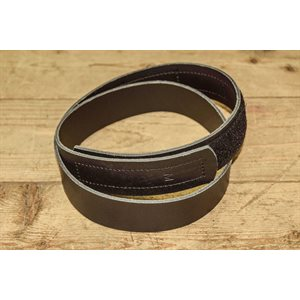 """Belt 1-1 / 2"""" for worker, no metal (without buckle), ungrooved black leather, medium size for 30"""" to 38"""""""