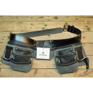 Tablier sac à clous 7 poches pour charpentier professionnel , cuir noir
