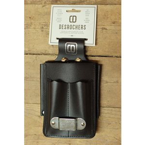 Shipping holster, black leather, large pouches, metal tape holder and screwdriver holder
