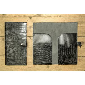 Passport or lottety tickets holder, black leather