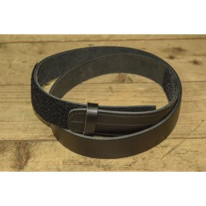 "Belt 1-1 / 2"" for worker, no metal (without buckle), ungrooved black leather, one size for 42"" to 44"""