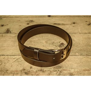 """Belt 1-1 / 4"""" for worker, grooved brown leather, from size 50"""" to 54"""""""
