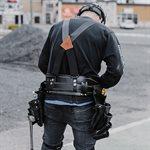 Ceinture porte-outils professionnelle, cuir noir, 8 poches